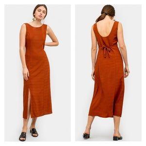MOD REF Bonita Grid Midi Dress in Rust Size Small